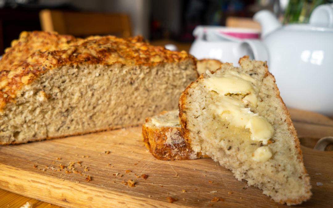 Irish soda bread with cheese and herbs
